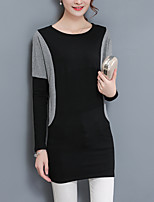 Women's Plus Size Casual/Daily Vintage Simple Spring Fall T-shirt,Color Block Round Neck Long Sleeves Cotton Spandex