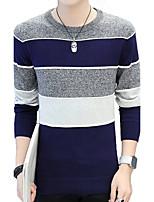 Standard Pullover Da uomo-Taglie forti Casual Monocolore Rotonda Manica lunga Cotone Autunno Inverno Medio spessore Media elasticità