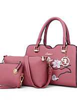 Women Bags All Seasons PU Bag Set Embroidery for Casual Office & Career Black Red Blushing Pink Military Green Gray