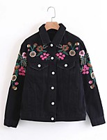 Women's Going out Casual/Daily Simple Spring Fall Denim Jacket,Solid Shirt Collar Long Sleeve Regular Others Embroidered