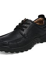 Men's Oxfords Comfort Summer Fall Cowhide Leatherette Casual Split Joint Flat Heel Low Heel Brown Black 1in-1 3/4in