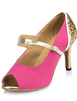 Women's Latin Faux Suede Heel Indoor Buckle Splicing Blushing Pink Blue Customizable
