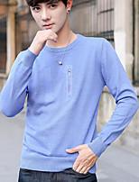 Standard Pullover Da uomo-Casual Semplice Con stampe Rotonda Manica lunga Cotone Autunno Medio spessore Media elasticità