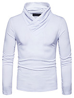 Men's Casual/Daily Simple Regular Pullover,Solid V Neck Long Sleeves Cotton Fall Winter Medium Stretchy