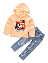 Girls' Geometic Sets,Cotton Polyester Spring Fall Long Pant Clothing Set