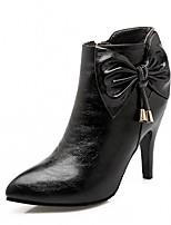 Femme Chaussures Similicuir Automne Hiver Confort Nouveauté Botillons Bottes Talon Aiguille Bout pointu Bottine/Demi Botte Noeud Pour
