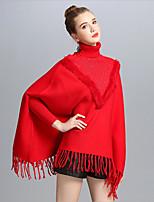 Women Rabbit Knit Core Spun Yarn Rectangle Square Infinity Scarf Print Spring/Fall Winter
