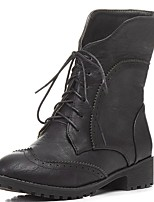 Damen Schuhe Kunstleder PU Herbst Winter Komfort Neuheit Stiefeletten Stiefel Walking Blockabsatz Runde Zehe Booties / Stiefeletten