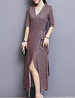 Women's Plus Size Going out Simple Sheath Dress,Print V Neck Maxi Half Sleeves Polyester Fall Mid Rise Inelastic Medium