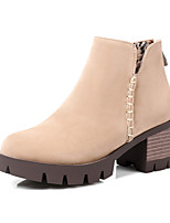 Women's Shoes Nubuck leather Fall Winter Fashion Boots Combat Boots Boots Chunky Heel Round Toe Booties/Ankle Boots Zipper For Casual