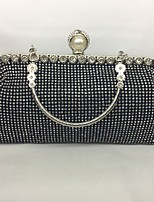 Women Bags All Seasons Metal Evening Bag Crystal Detailing for Wedding Event/Party Gold Black Silver
