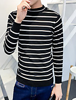 Men's Casual/Daily Regular Pullover,Striped Color Block Turtleneck Long Sleeves Others Spring Winter Medium Micro-elastic