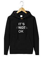 Men's Going out Casual/Daily Simple Hoodie Letter Hooded Micro-elastic Cotton Long Sleeve Fall Winter