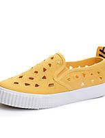Damen Schuhe Leinwand Sommer Komfort Sneakers Flacher Absatz Runde Zehe Ausgehöhlt Für Normal Weiß Schwarz Gelb