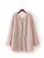 Women's Sports Going out Casual/Daily Simple Street chic Fall Winter Fur Coat,Solid V Neck Long Sleeve Regular Faux Fur Polyester