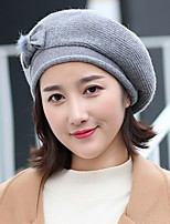 Women's Sweater Beret Hat,Hat Vintage Style Solid All Seasons Pure Color Floral Bow