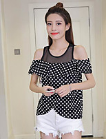 Women's Casual/Daily Simple Shirt,Polka Dot Print Round Neck Short Sleeves Others