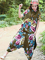 Women's Going out Chinoiserie Summer T-shirt Pant Suits,Floral Shirt Collar Short Sleeve