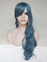 Women Synthetic Wig Capless Long Wavy Deep Wave Blue With Bangs Party Wig Halloween Wig Natural Wigs Costume Wig
