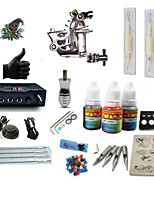 starter tattoo kits 1 steel machine liner & shader LCD power supply 5 x tattoo needle RL 3 Complete Kit