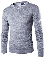 Standard Pullover Da uomo-Sport Casual Semplice Punk & Gotico Tinta unita A V Manica lunga Cotone Autunno Inverno Medio spessore Media