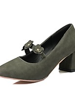 Women's Shoes Leatherette Fall Comfort Heels Chunky Heel Pointed Toe Applique For Office & Career Dress Blushing Pink Green Gray Black