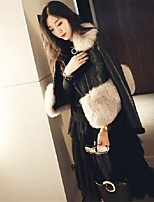 Women's Party Casual/Daily Street chic Chinoiserie Fall Winter Fur Coat,Solid Shawl Lapel Long Sleeve Short Faux Fur Fur Trim
