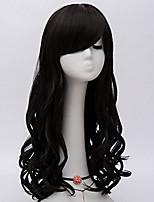 Donna Parrucche sintetiche Senza tappo Lungo Ondulato naturale Nero Attaccatura dei capelli naturale Parte laterale Con frangia Parrucca