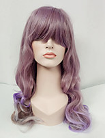 Women Synthetic Wig Capless Long Wavy Lavender With Bangs Lolita Wig Costume Wig