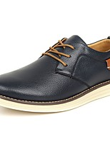 Men's Shoes Cowhide Spring Fall Comfort Oxfords Lace-up For Casual Light Brown Dark Blue Black
