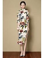 Fodero Vestito Da donna-Per uscire Con stampe Colletto alla coreana Medio Manica a 3/4 Seta Autunno A vita medio-alta Media elasticità