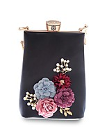 Women Bags All Seasons PU Evening Bag Beading Appliques for Event/Party Blue White Black Blushing Pink