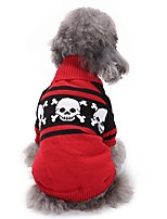 Dog Sweater Dog Clothes Halloween Skulls Red