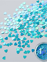 1g/Bottle Super Graceful Sky-blue Heart Shape Sequins Fashion Summer Candy Color Nail Art 3D Sequins Fresh Style Love Heart  Manicure DIY Decoration