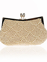 Women Bags All Seasons ABS+PC Evening Bag Pearl Detailing for Wedding Event/Party Champagne Black Almond