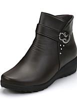 Femme Chaussures Polyuréthane Printemps Automne Hiver Confort boîtes de Combat Bottes Gros Talon Bout rond Boucle Pour Décontracté Noir
