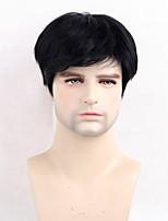 Men Human Hair Capless Wigs Beige Blonde//Bleach Blonde Black Short Straight Side Part