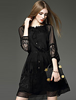 YHSP Women's Going out Casual/Daily Simple Street chic Sophisticated A Line Sheath Little Black DressSolid Embroidered Round Neck Above Knee