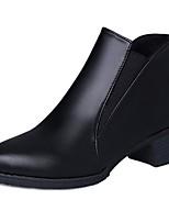 Femme Chaussures Polyuréthane Automne boîtes de Combat Bottes Gros Talon Bout pointu Elastique Pour Décontracté Noir Gris