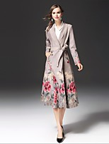 FRMZ Women's Going out Casual/Daily Street chic Spring Fall Trench Coat,Print Notch Lapel Long Sleeve Long Cotton Others