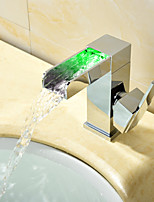 Contemporary Modern Style LED Centerset Waterfall with  Ceramic Valve Single Handle One Hole for  Chrome , Bathroom Sink Faucet