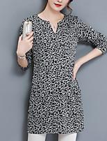 T-shirt Da donna Casual Taglie forti Vintage Semplice Primavera Autunno,Fantasia floreale A V Cotone Elastene Manica lunga