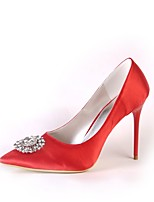 Women's Shoes Silk Spring Fall Basic Pump Wedding Shoes Stiletto Heel Pointed Toe Closed Toe Rhinestone For Wedding Party & Evening Red