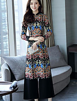 Women's Casual/Daily Simple Fall T-shirt Pant Suits,Solid Print Round Neck Long Sleeve Inelastic