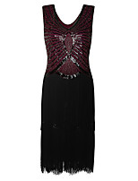 Shall We Latin Dance Dresses Women's Performance Polyester Sequined Tassel(s) Paillette 1 Piece Sleeveless High Dress