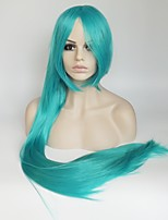 Women Synthetic Wig Capless Long Straight Blue Middle Part With Bangs Party Wig Halloween Wig Costume Wig