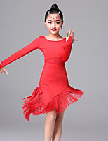 Latin Dance Dresses Children's Performance Ice Silk Tassel(s) 1 Piece Long Sleeve Dress