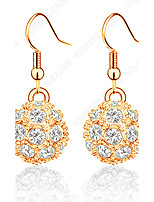 Women's Hoop Earrings AAA Cubic Zirconia Bohemian Gold Plated Ball Jewelry For Party Birthday Daily Office & Career