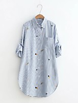 Women's Going out Casual/Daily Simple Cute Street chic Spring Fall Shirt,Striped Print Shirt Collar Long Sleeves Cotton Thin Medium