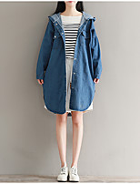 Women's Going out Casual/Daily Simple Street chic Spring Fall Denim Jacket,Solid Hooded Long Sleeve Long Cotton Others